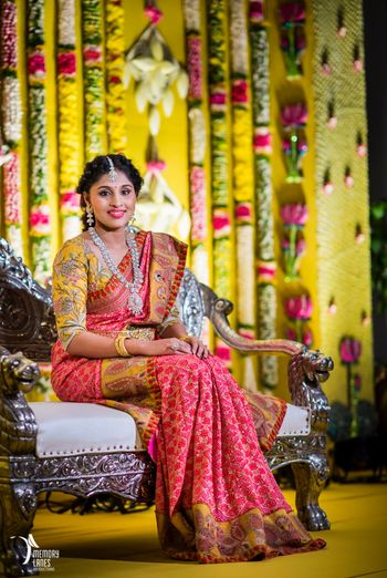 Photo of South Indian colour blocked saree and blouse