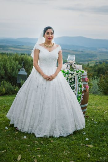 White wedding gown for Neha bhasin wedding