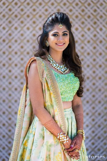 Light Green Outfits Photo floral lehenga