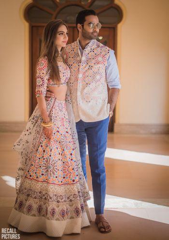 Mehendi bride and groom twinning look