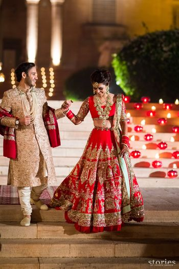 Red manish malhotra bridal lehenga