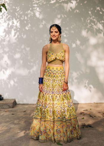 Stunning mehendi lehenga worn by bride
