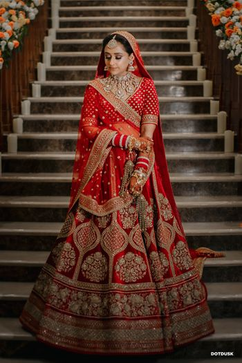 Bride in a red lehenga