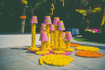 Genda phool decor idea with buckets