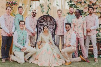 Groomsmen in matching floral printed Nehru jacket
