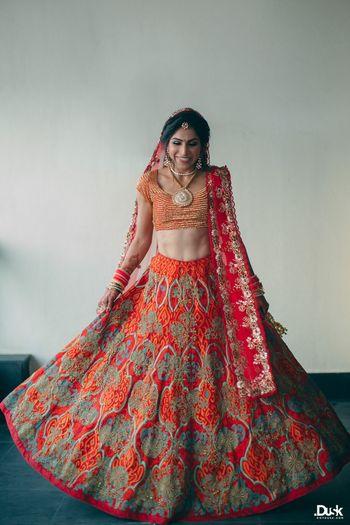 Red Bridal Lehenga Photo orange and red lehenga