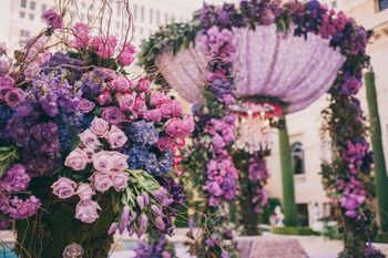 Photo of Purple floral mandap decor