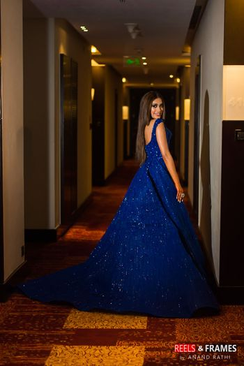 Photo of Royal blue ball gown with train