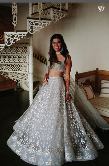 Photo of Pretty light grey lehenga for wedding