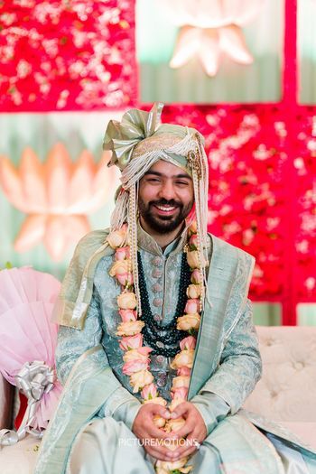 Photo of Groom in powder blue sherwani