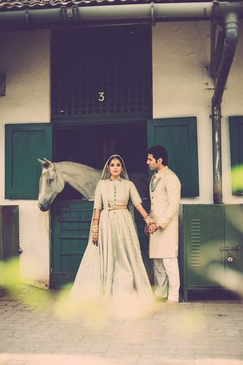 Photo of offbeat bridal outfit