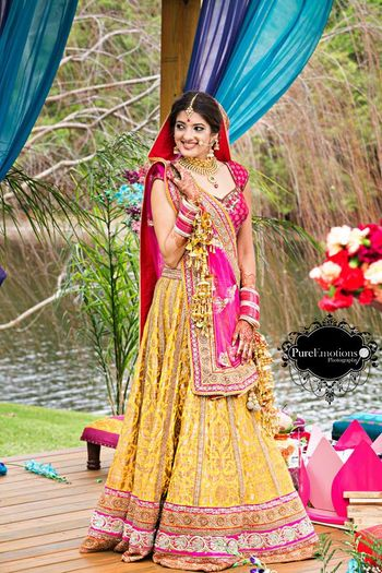 Photo of yellow brocade lehenga