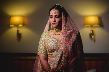 Photo of Pastel floral embroidered lehenga