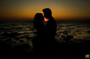 beach romantic silhouette shot