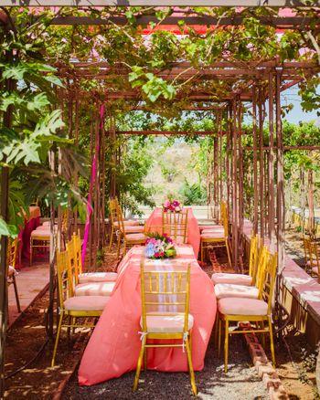 Pretty peach rustic wedding decor for table setting