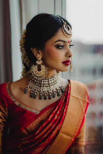 A shot of a south Indian bride on her wedding day