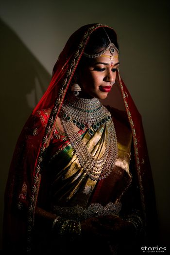 South Indian bridal portrait with layered diamond jewellery