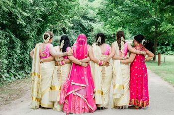 Photo of Fusion wedding bride with bridesmaids