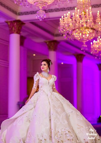 Ultra flared white princess gown
