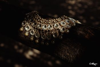 Photo of bridal jewellery shot with polki necklace