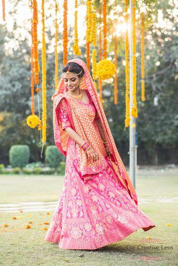 Candy pink and orange bridal leheng