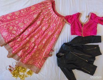 Pink banarsi printed bridal lehenga from Ekaya