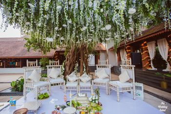 White mandap decor