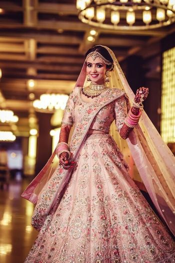 Photo of Light pink lehenga matching choora