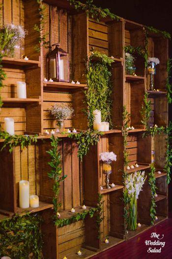 rustic chic decor, wooden crate decor , greenery decor