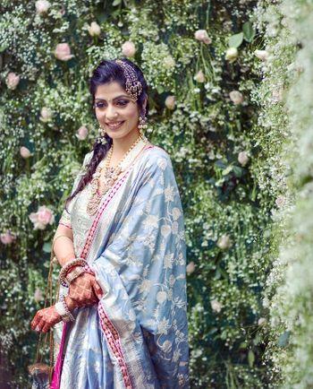 Photo of Light blue benarasi dupatta on bride
