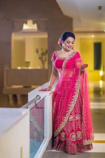 pink sangeet or engagement lehenga
