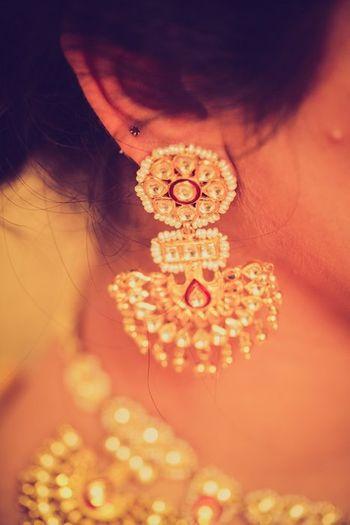Photo of kundan earrings with pankha drop