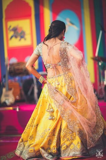 Photo of Anushree reddy yellow lehenga for mehendi