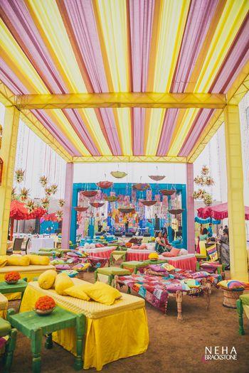 Photo of Funky mehendi decor with Mela Theme