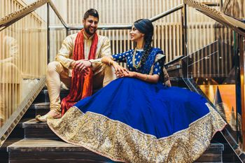 Blue Sabyasachi sequin work lehenga for sangeet