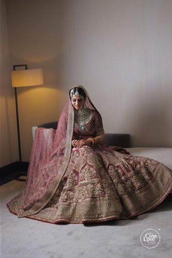 turkish rose velvet lehenga for bride