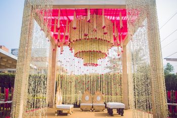 Gorgeous mandap with mogra flowers.