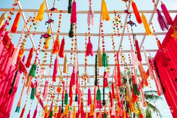 multicolour tassel decor idea for the mehendi