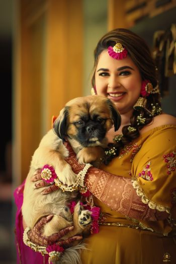 Photo of bridal portrait with her dog on mehendi day