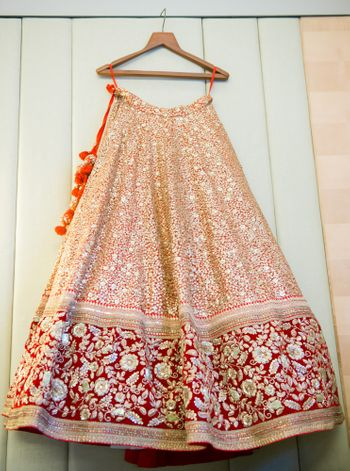 Photo of peach bridal lehenga