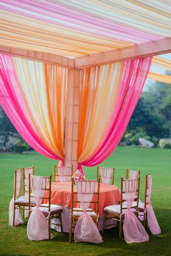 Pretty pink theme tent and table decor