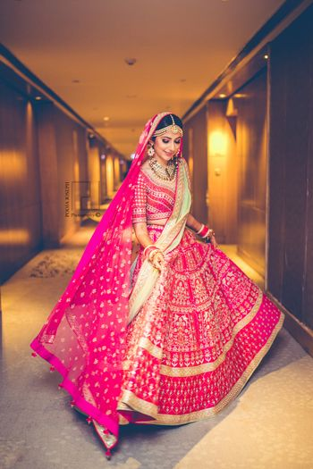 Photo of Bright pink and mint lehenga by Anita Dongre