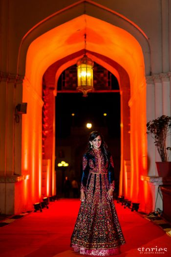 Floor length jacket lehenga in navy blue velvet