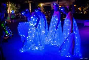 bride and groom entry ideas with fairies and twinkling
