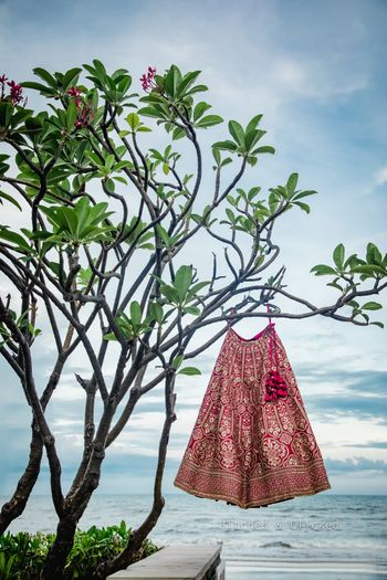 Red bridal lehenga on a hanger shot