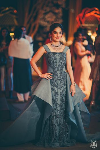Unique grey cocktail gown for sangeet