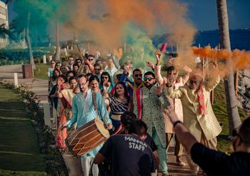 Photo of Groom entry on mehendi or wedding with smoke sticks
