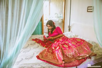 Photo of Bright pink benarasi lehenga