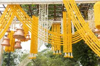 Photo of A simple marigold floral decor at a wedding function