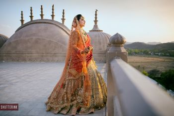 Photo of Bridal shot at the terrace of the wedding venue